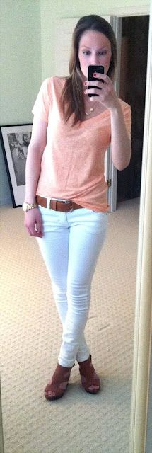 peach top + white pants + brown belt + brown shoes