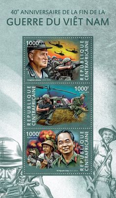 Post stamp Central African Republic CA 15118 a40th anniversary of the end of Vietnam war (Creighton Abrams (1914-1974), {…}, Võ Nguyên Giáp (1911-2013))