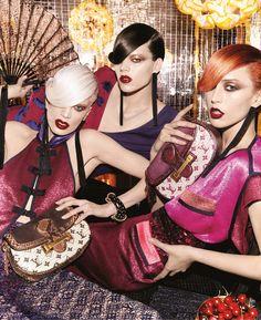Kristen McMenamy, Freja Beha Erichsen, and Raquel Zimmermann by Steven Meisel for Louis Vuitton S/S 2011 campaign