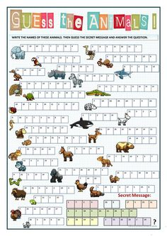 Guess the animal - guess the secret message english primary school, kids english, english English Worksheets For Kids, English Games, English Lessons For Kids, Kids English, English Activities, English Words, Learn English, Activities For Kids, English English
