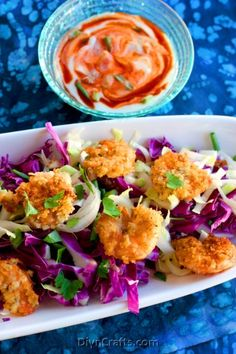 """Deliciously Easy Recipe: Spicy """"Fried"""" Shrimp with  Asian Slaw"""