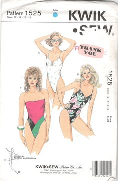 Kwik Sew 1525 1980s Misses One Piece Swimsuit Pattern High Cut by mbchills
