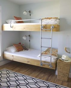 If you have kids and a smaller (or smallish) home, you need to be thinking about bunk beds. But like any furniture, that can get pricey, fast. These DIY bunk bed projects will save you. Bunk Beds For Boys Room, Bunk Bed Rooms, Bunk Beds Built In, Modern Bunk Beds, Cool Bunk Beds, Bunk Beds With Stairs, Kid Beds, Building Bunk Beds, College Bunk Beds