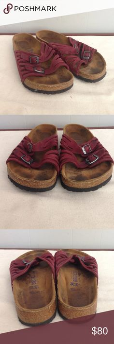 Red soft footbed Birkenstock sandal Gently used condition 38 or women's 7. My fav color 😍😍😍😍 Birkenstock Shoes Sandals