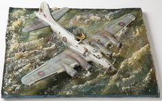 British Fortress II (Boeing B-17F) from Sqn 206 sinking in North Atlantic 11 Jun 1943 after attack on U-417. Diorama in 1/72 scale
