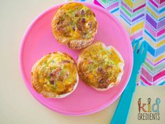 Lunchbox bacon and veggie quiches, three on a plate