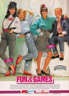 80s Kmart ad - Stripe pattern denim skirts and mom jean!