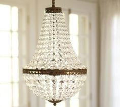 Shop mia faceted-crystal pendant from Pottery Barn. Our furniture, home decor and accessories collections feature mia faceted-crystal pendant in quality materials and classic styles. Crystal Lights, Crystal Chandelier Lighting, Bronze Chandelier, Home Lighting, Simple Chandelier, Lighting Ideas, Antique Chandelier, Barn Lighting, Pottery Barn Chandelier
