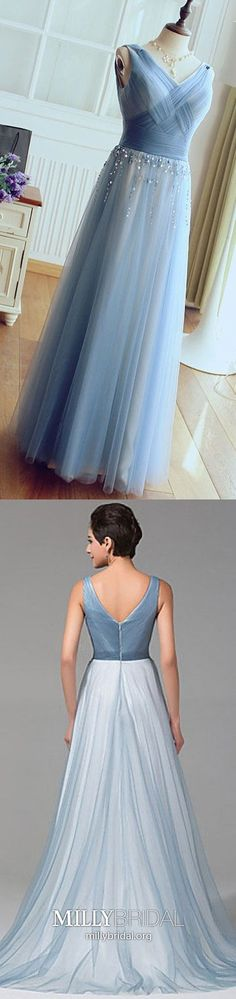 Long Prom Dresses Blue,A-line Prom Dresses V-neck,Tulle Prom Dresses with Beading,Elegant Prom Dresses Sleeveless