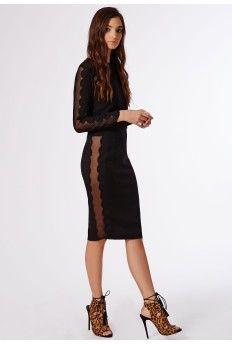 Scallop Mesh Insert Midi Skirt Black