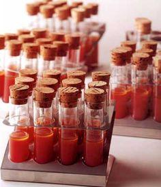 Fiestas con encanto:Gazpacho y/o ajoblanco en tubos de ensayo