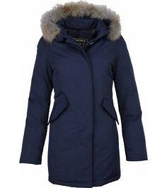 Beluomo Bontjassen - Dames Winterjas Wooly Lang - Bontkraag - Parka - Blauw - Style Italy