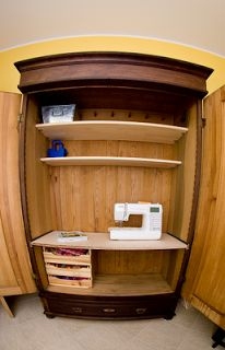 Sewing space in a cupboard with pull out table top for leg space and where i sew studio spotlight series projektownia jednoiglec watchthetrailerfo