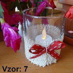 Svietnik sklenený s mašľou - Sviečka - S čajovou sviečkou LED (plus 1€), Vzor - Vzor 7