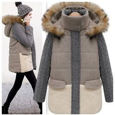 69.48$  Buy now - http://alilix.worldwells.pw/go.php?t=1551905513 - 2015 Fashion Design New Women Autumn Winter Fur Collar Long Wool Knitted Sleeve Stitching Hooded Parka Padded Jacket Coat