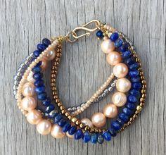 Lapis Lazuli and Pearl Multi Strand by YellowMangoBracelets