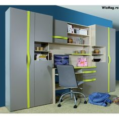Biblioteca Tineret Party de calitate Living, Kids Wardrobe, Kids Boys, Furniture Ideas, Corner Desk, Loft, Bed, Interior, Table