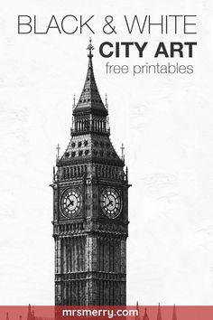 "Free vintage wall art. Featuring the Eiffel Tower, Big Ben, Leaning Tower of Easel, The Golden Gate Bridge, and the Statue of Liberty. Available in size 5""x7"", 8""x10"", 11""x14"" #modernartprintables #blackandwhiteart #freeprintables #freeprintablesblackandwhite"