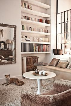 Like thick shelves in alcoves and large rustic mirror