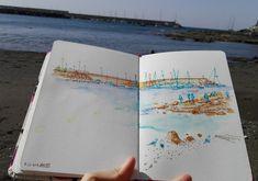 Beach and harbour. Beach, Travel Smash Book, Notebooks, The Beach, Beaches