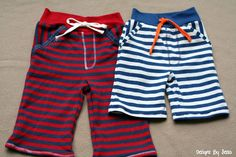 Tutorial: Little boy striped baggie shorts refashioned from a man's shirt