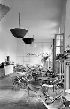 "Interior of the cafe ""Błękitna"" designed by Piotr Nagabczyński Warsaw, Old Photos, Dining Table, Entertaining, Bar, Retro, Furniture, Modernism, Design"