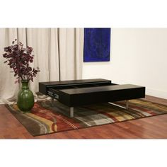 Modern Transforming Wenge Coffee Table with Storage Blenio.