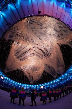 #RIO2016 Fireworks explode during the Opening Ceremony of the Rio 2016 Olympic Games at Maracana Stadium on August 5 2016 in Rio de Janeiro Brazil