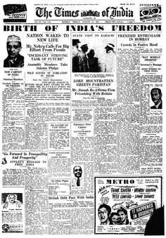 How world newspapers reported India's independence in 1947 History Of India, History Photos, History Facts, Ancient History, Newspaper Design, Old Newspaper, Newspaper Headlines, Newspaper Layout, Times Newspaper
