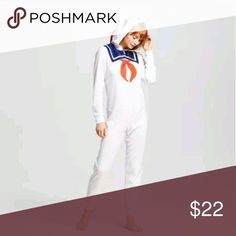 "Ghostbusters large womens suit stay puft NEW WITH TAGS LICENSED GHOSTBUSTERS WOMEN'S UNION SUIT STAY PUFT ONESIZE SIZE LARGE 11-13 , POLYESTER. 19"" ARMPIT TO ARMPIT AND 60"" IN TOTAL LENGTH FROM THE TOP OF THE SHOULDER TO THE BOTTOM OF THE SUIT. HAS A HOOD THAT STAYS 'PUFT' UP Intimates & Sleepwear"
