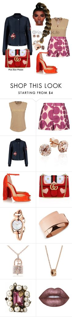 """Plus Size Please"" by keys2luxlife on Polyvore featuring Balmain, Raoul, Christian Louboutin, Gucci, Skagen, Roberto Coin, Lime Crime, Beauty, plussize and PlusSizePlease"