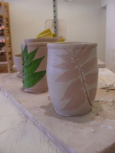 jen's leaf mugs - use leaf as a template for the glaze