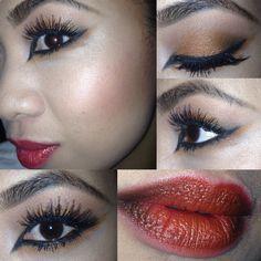 Autumn look; #OrangeAndBlack #OmbreLips more autumn trends at www.preciousfacesartistry.blogspot.com