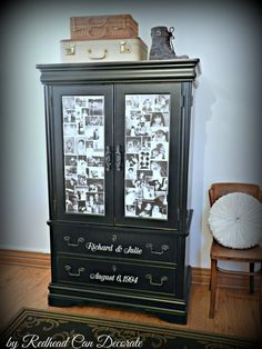 Anniversary Photo Armoire…I used Modge Podge to adhere the copies of special photos. This was so easy! Something our family will cherish for years. Recycled Furniture, Furniture Projects, Furniture Making, Furniture Makeover, Painted Furniture, Diy Furniture, Diy Projects, Refurbished Furniture, Bedroom Furniture