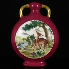 Hand-painted Chinese Famille Rose Gilt Edge Porcelain Moon Flask Vase w Deer,Dog & Qianlong Mark