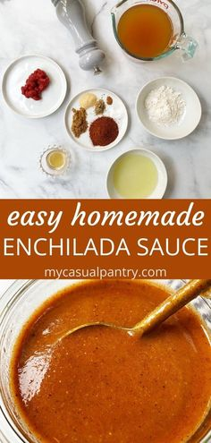 Easy Homemade Enchilada Sauce - this sauce comes together in just minutes with pantry ingredients. After trying homemade enchilada sauce, you will never buy store-bought again. Best Enchilada Sauce, Recipes With Enchilada Sauce, Sauce Recipes, Cooking Recipes, Mexican Dishes, Mexican Food Recipes, Spanish Recipes, Veggie Recipes, Great Recipes