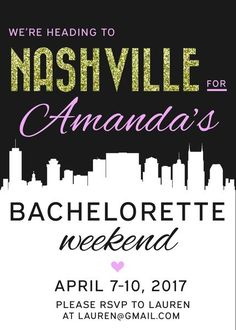 This free DIY bachelorette party invitations was made especially for Nashville. Just enter the party details and press print! We've taken care of all the hard work. Classy Bachelorette Party, Bachelorette Party Invitations, Bachelorette Weekend, Maid Of Honor, Hard Work, Nashville, Rsvp, Wedding Decorations, Fun
