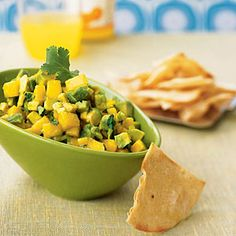 Avocado-Mango Salsa with Roasted Corn Chips | CookingLight.com