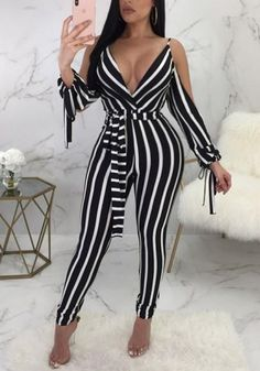 2018 Black-White Striped Sashes Cut Out Sleeve High Waisted Clubwear Party Long Jumpsuit