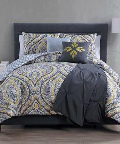 Another great find on #zulily! Gray & Yellow Vera Comforter Set #zulilyfinds