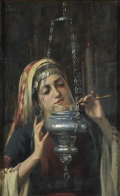 "immerlein: "" Women in the Orthodox Church, by Theodore Jacques Ralli - "" Spanish Gypsy, Greece Painting, Gypsy Girls, Greek Beauty, Islamic Art Calligraphy, Portraits, Greek Art, 10 Picture, Art For Art Sake"