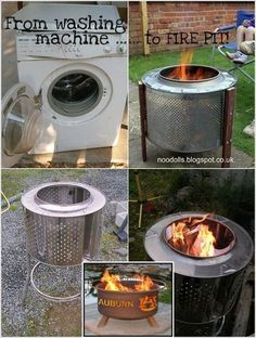 Fire Pit Drum, Fire Pit Bench, Diy Fire Pit, Fire Table, Garden Fire Pit, Fire Pit Backyard, Washing Machine Drum, Washing Machines, Outside Fire Pits