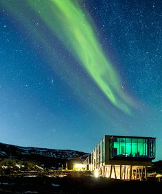 The Northern Lights Bar at the ION Hotel an hour outside of Reykjavik, Iceland, offers prime Aurora viewing // 29 Places to Visit in 2014