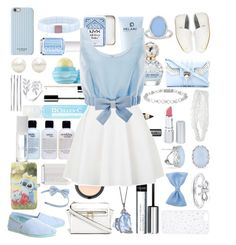 """""""cute as a button - blue and white"""" by flutterstyles on Polyvore featuring H&M, Cellex-C, Burberry, philosophy, Eos, By Terry, NYX, Essie, Miadora and Marc Jacobs"""