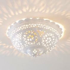 Moroccan Scalloped and Punched Metal Semiflush Ceiling Light