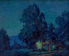 "Alta West Salisbury ""California Adobe in Moonlight"" 18x22 Oil on Canvas"