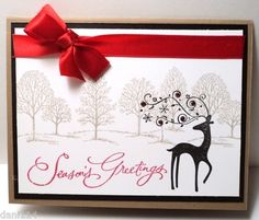 Stampin Up Seasons Greetings Reindeer Dasher 4 Completed Cards | eBay
