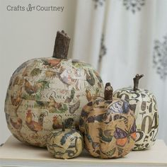 Vintage scrapbook paper (especially one that features chickens) look perfectly charming when you mod podge it to a pumpkin.