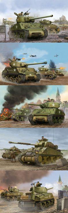 Tanques americanos Medios: M4A3 Sherman (76 mm), M4A3 Sherman (76 mm), M4 Jumbo Sherman, Luciérnaga de Sherman, M4A2 Sherman (75 mm)