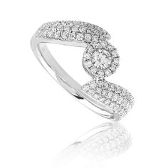 Dalilah diamond ring Availability: In stock Truly avant-garde this diamond ring feature 79 round hand picked ideal cut diamonds set in 14K Gold, total weight 0.64ctw  $1373.38